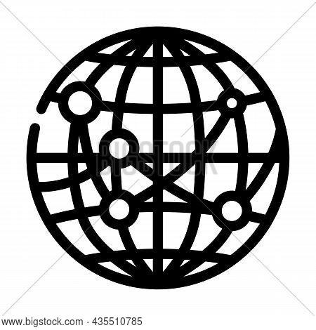 International Logistics Business Line Icon Vector. International Logistics Business Sign. Isolated C