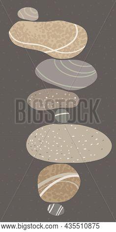 Pyramid Of Balancing Light Light Stones On A Dark Background On Dark Background Zen Stone. Vector Mi