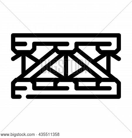 Bridge Metal Material Frame Line Icon Vector. Bridge Metal Material Frame Sign. Isolated Contour Sym