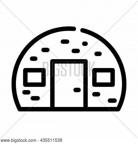 House Built From Metal Material Line Icon Vector. House Built From Metal Material Sign. Isolated Con