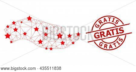 Asking Hand Star Mesh Network And Grunge Gratis Seal Stamp. Red Watermark With Grunge Texture And Gr