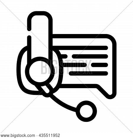 Online Support Advice Line Icon Vector. Online Support Advice Sign. Isolated Contour Symbol Black Il