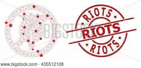 Forbid Opium Poppy Star Mesh Net And Grunge Riots Seal Stamp. Red Imprint With Grunge Texture And Ri