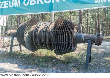 Hel, Poland - July 20, 2021: Orp Wicher Ii Propulsion Turbine At Museum Of Coastal Defence.