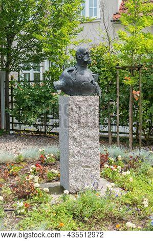 Gdansk, Poland - July 9, 2021: Bust Of Jacek Malczewski. Jacek Malczewski Was A Polish Symbolist Pai