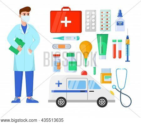 Male Doctor And Medical Equipment Cartoon Vector Set. Specialist Or Therapist Gp Character In Facial