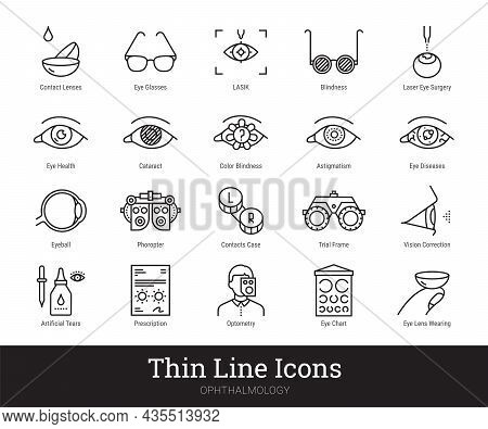 Ophthalmology, Eyes Health Vector Linear Icons Set