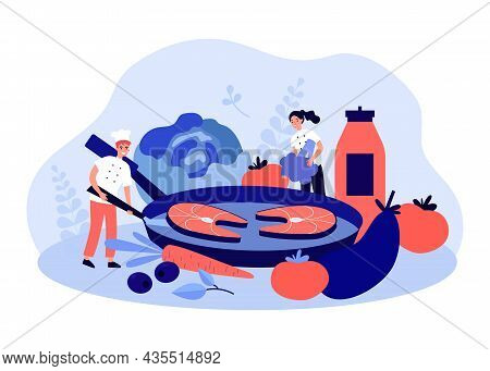 Team Of Chefs Cooking Fish And Vegetables In Pan. Food Master Class From Tiny Characters Flat Vector