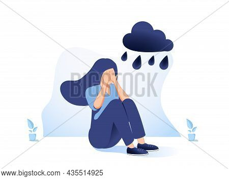 Lonely Young Girl Sitting On Floor And Cover Her Face With Arms. Sad Child Is Crying. Female Charact