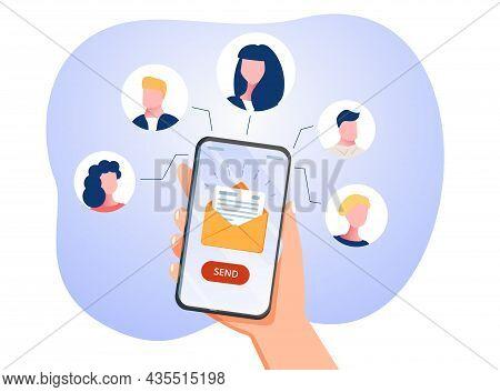 Running Email Campaign, Email Advertising, Direct Digital Marketing. 3d Vector Illustrations. Runnin