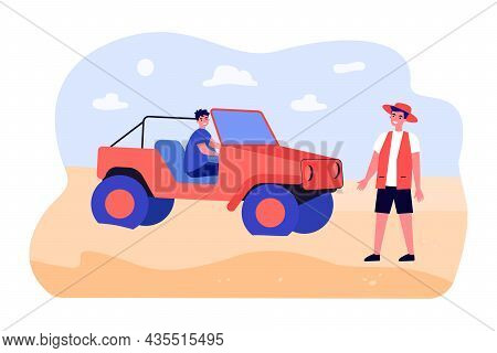Men Travelers On Car On Desert Tour. Tourists Traveling African Savannah On Vehicle. Summer Group Va