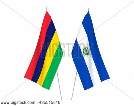 National Fabric Flags Of Republic Of Mauritius And Republic Of El Salvador Isolated On White Backgro