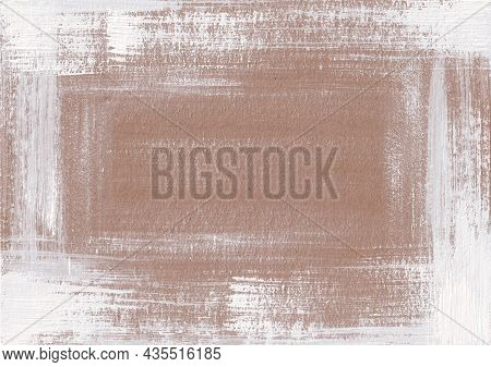 Grunge Shabby Background With Stripes Of Dry White Paint On Brown Craft Paper. Hand Drawn Texture Wi
