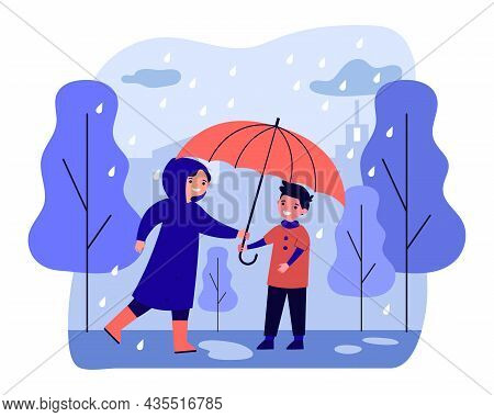 Happy Woman In Raincoat Giving Umbrella To Boy. Smiling Caring Person Covering Guy From Raining. Aut