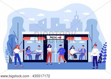 People Eating In Outdoor Pizza Restaurant. Smiling Cartoon Characters Dining Out In Pizzeria. Friend