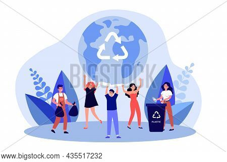 Eco Volunteers Saving Earth From Pollution. People Recycling Separating Trash. Men And Women Sorting