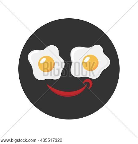 Eggs And Ketchup Graphic Icon. Two Fried Egg With Ketchup. Sign In The Circle Isolated On White Back