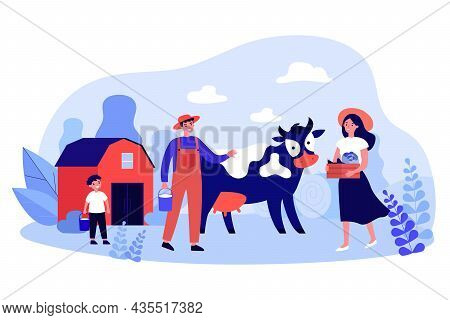 Family Of Farmers And Cow On Rustic Farm. Woman Holding Box With Harvest Flat Vector Illustration. F