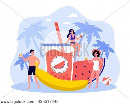Tiny People In Swimwear Enjoy Summer Vacation. Smiling Friends In Swimsuit Drinking Cocktails Relaxi