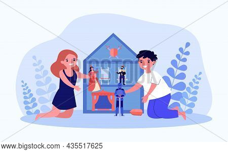 Children Playing Dollhouse At Home Together. Happy Kids Having Fun With Toys In Doll House. Sibling