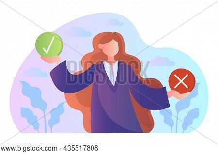 Business Decision Right Or Wrong. Woman Hold Signs With Tick And Cross. True Or False. Moral Choice.