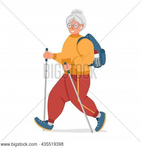 An Athletic Grandmother With Trekking Poles Goes On A Hike. On The Back Is A Backpack With A Bottle