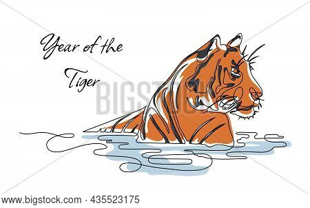 One Line Drawing Of A Tiger With Modern Colored Spots. Continuous Line Drawing Of A Tiger With Text