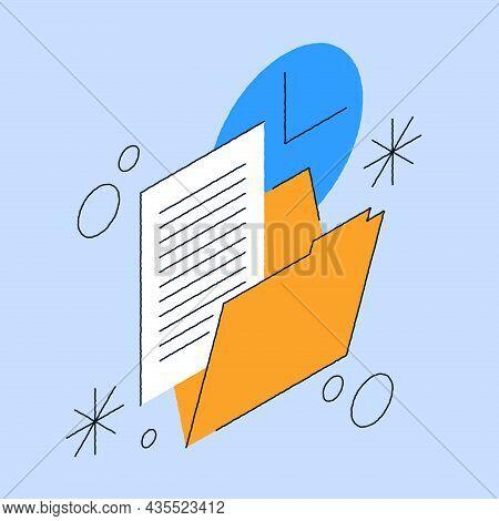 Paperwork File Data Folder Isometric Vector Illustration. Business Paper Document Information Archiv