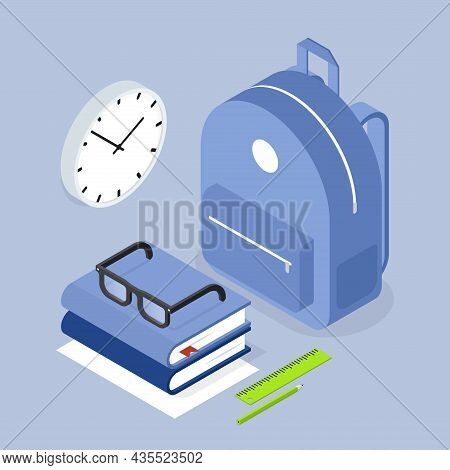 Back To School Backpack Storage Organization Vector Isometric Illustration. Schoolbag With Stack Of