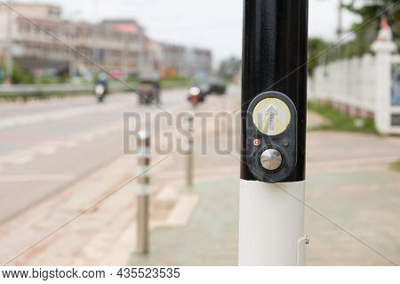 Push Button For Traffic Light. Use Traffic Lights At The Crossroads. Button Of The Mechanism Lights