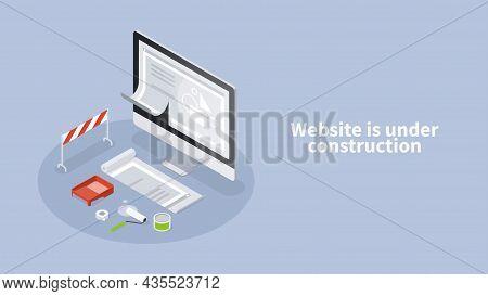 Website Under Construction Page Isometric Banner Vector Illustration. Internet Hosting Error Message