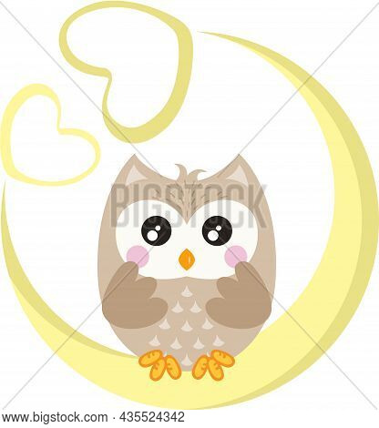 Scalable Vectorial Representing A Cute Owl On Moon With Hearts, Element For Design, Illustration Iso