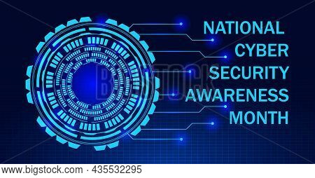 National Cyber Security Awareness Month Ncsam Is Observed In October In Usa. Hud Elements On The Gri