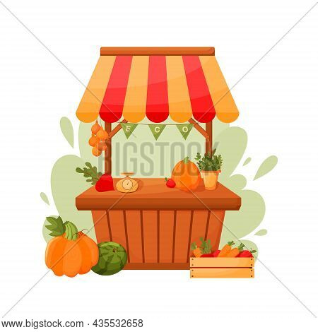 Counter Stall. Autumn Food Market Counter With Fruits, Vegetables On Shelves And In Boxes. Vector Im