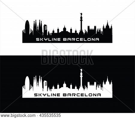 Barcelona Skyline Horizontal Banner Black Silhouette Of Barcelona Vector Template