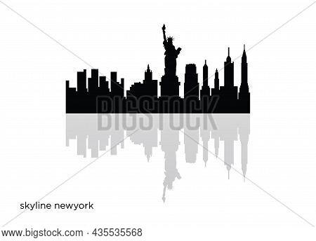 New York Skyline Horizontal Banner Black Silhouette Of New York Vector Template