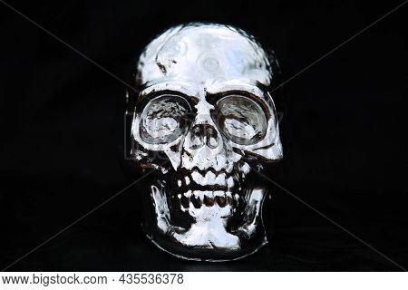 Halloween. Human Skull. Halloween Skull. Human Skull Isolated on Black.