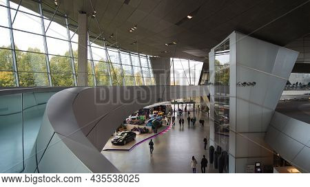 Munich, Germany - 12 October 2015: Interior View Of Bmw Welt Munich, The Delivery And Experience Cen