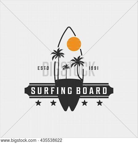 Surfing Beach Logo Vintage Vector Illustration Template Icon Design. Paradise Symbol Retro With Suns