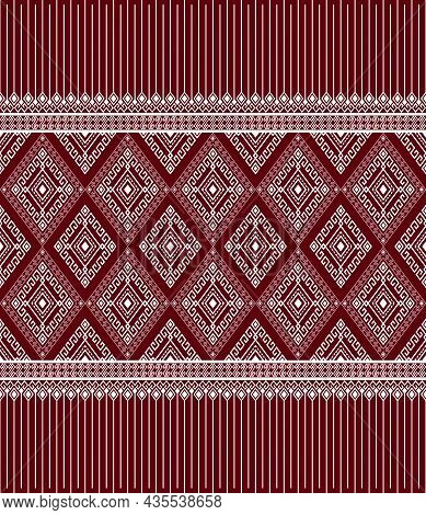 White Ethnic Or Tribal Seamless Pattern On Red Background In Symmetry Rhombus Geometric Bohemian Sty