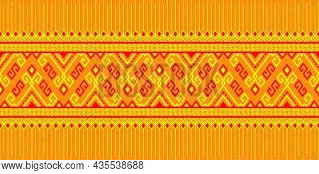 Yellow Red Tribe Or Native Seamless Pattern On Yellow Background In Symmetry Rhombus Geometric Bohem