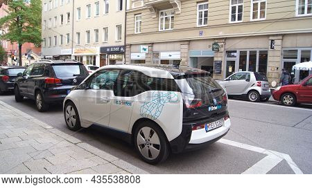 Munich, Germany - 12 Oct 2015: Bmw I3 Electric Car Parked In The City Centre Of Munich