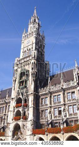 Munich, Germany - 12 Oct, 2015: Munich City Hall At Marienplatz In The City Centre Of The Bavarian C