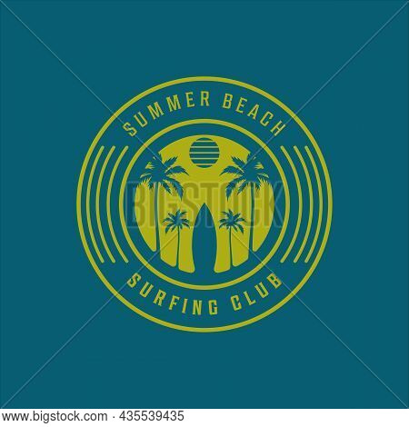 Surfing Beach Logo Vintage Vector Illustration Template Icon Design. Paradise Palm And Coconut Tree