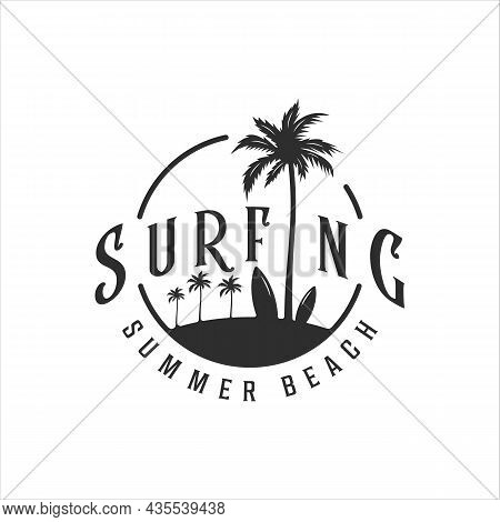 Surfing Beach Logo Vintage Vector Illustration Template Icon Design. Paradise With Palm Or Coconut T