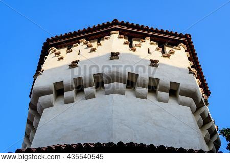 Large Old White Painted Stone Tower In The Historical Center Of The Sibiu City, Near Citadel Street