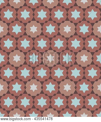 Abstract Background Hexagram, Brick Red Color. Arranged In A Grid Line. Hexagon Shape Pattern Seamle
