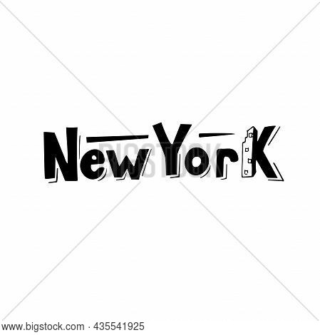 New York, Designed Logo, The Digital Handwritten Title For  Banners, Posters, Pictures, Calendars, A