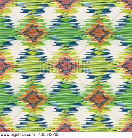 Shibori Style Ikat Vector Seamless Vector Pattern Background. Scribbled Diamond Shapes Backdrop In G