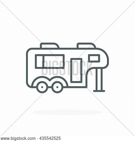 Caravan Icon. Editable Stroke And Pixel Perfect. Outline Style. Vector Illustration.